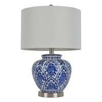 Decor Therapy Floral Ceramic Table Lamp (Blue)