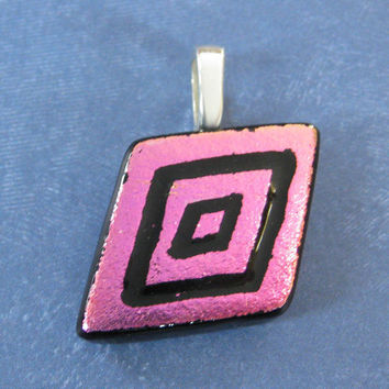 Pink Etched Pendant, Hot Pink Handmade Jewelry - Poppy - 3998 -2
