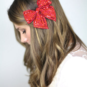 red sparkly bow hair clip, MORE COLORS sequins grosgrain ribbon hair bow clip, bridal comb, vintage look hair clip