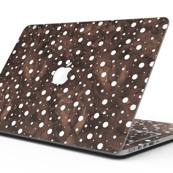 Brown and White Watercolor Polka Dots - MacBook Pro with Retina Display Full-Coverage Skin Kit