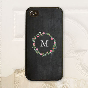 Chalkboard phone case, iPhone 4 4S, iPhone 5 5S, Samsung Galaxy S3 S4, floral wreath cover, customize monogram, personalized gift under 25