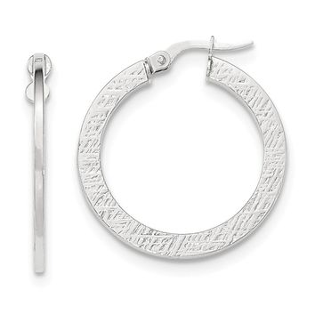 14K White Gold Polished/Textured Large Hoop Earring