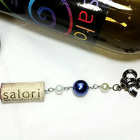 Upcycled Wine Bottle Cork Key Chain/Om Key Chain/Repurposed Satori Cellars Vino Winery Cork/Faux Pearl Cork Key Chain/Bling Om
