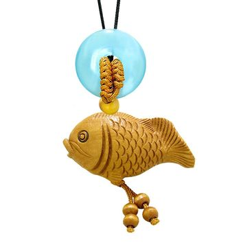 Fortune Cute Fish Car Charm or Home Decor Simulated Blue Cats Eye Lucky Coin Donut Protection Amulet