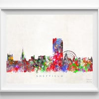 Sheffield Skyline Print, England Art, Cityscape, Watercolor Painting, Wall Art, City Skyline, Wall Decor, City Poster, Christmas Gift