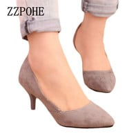 ZZPOHE Spring new arrival women heel shoes velvet thin heels pointed toe Ladies single shoes shallow mouth sexy women shoes