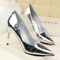 Fashion Lacquer Leather Lines Pattern Shallow Mouth Pointed Top Shoes Women Heels Shoes
