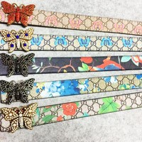 GUCCI New fashion more letter floral butterfly print leather butterfly buckle belt women