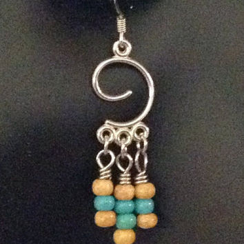 Turquoise Blue Boho Seed Bead Earrings