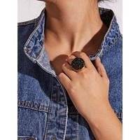 Contrast Gemstone Ring 1pc