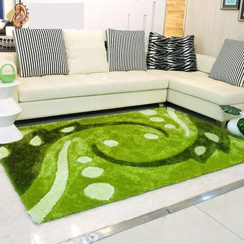 Green scenic decorative tapete rectangle Elasticity rugs and carpets fly knit