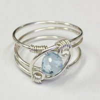 Blue Topaz Ring  Blue Topaz Jewelry  December Birthstone Sterling Rings for Women  Silver Ring  Rings  Sterling Silver