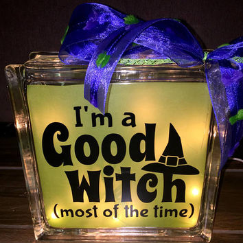I'm a Good Witch Lighted Glass Block, Halloween Decors Block, Glass Light,  Home Decor, Glass Blocks with Lights
