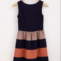 New Color Block Sleeveless Chic Dress - XS, S