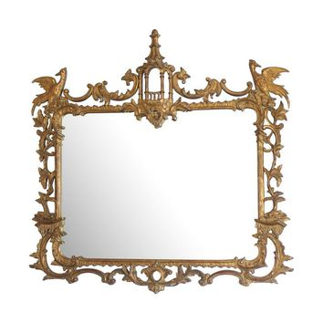 Pre-owned Vintage Italian Chinoiserie Style Gilt Mirror