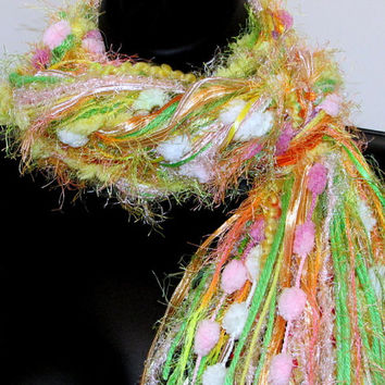 """Knotted Scarf All Fringe Scarves Womens Scarf - """"Tropical Punch"""", pink, melon, yellow, lime - fiber art scarf"""
