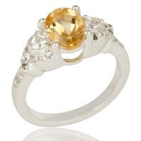 925 Sterling Silver Citrine And White Topaz Gemstone Statement Ring
