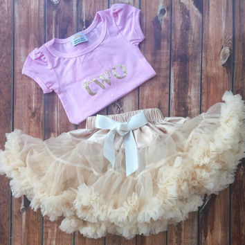 Ivory chiffon pettiskirt, kids, petti skirt, Birthday shirt two, 2 years old, outfit cream, baby, chiffon girls skirt, toddler, baby, fluffy