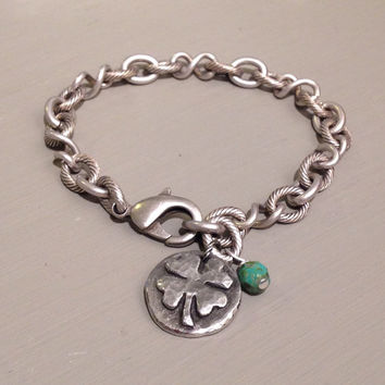 Shamrock Bracelet, Four Leaf Clover, Wax Cast Pewter Charm
