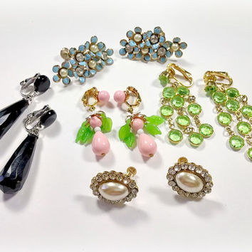 Vintage Clip On Earrings 5 Pairs of Clip on and Screwback Style Costume Jewelry Earrings Lewis Segal Avon and More Nice Variety Styles