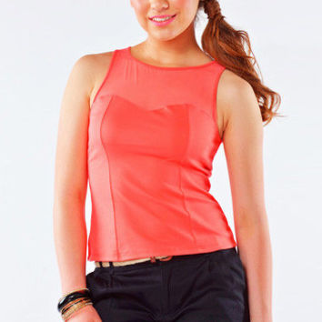 Mish Mesh Sweetheart Top - Coral