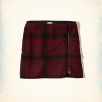 Zip-Front Wool-Blend Mini Skirt