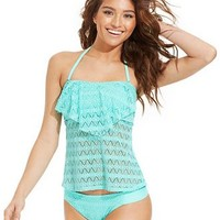 Hula Honey Crochet Flounce Tankini Top & Hipster Brief Bottom