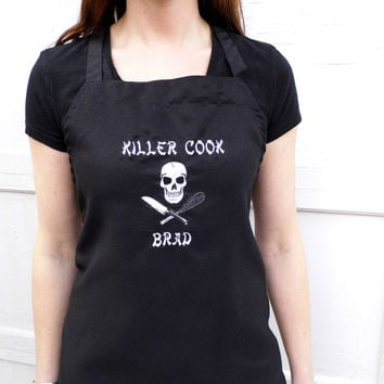 Killer Cook Skull Apron - BBQ Apron - Embroidered and  Personalized full length bib chefs apron