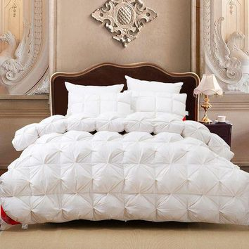 ONETOW Luxury 100%goose down white plaid king queen or 220*240 or 200*230 comforter double size bed winter blanket nobel quilt set