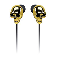 Skull Earbud Headphones - Gold