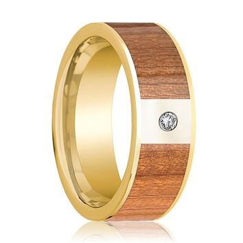 Mens Wedding Band 14k Yellow Gold Flat Wedding Ring with Sapele Wood Inlay Polished & Diamond - 8mm