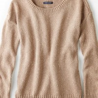 AEO Women's Shimmery Crew Sweater (Brushed Earth)