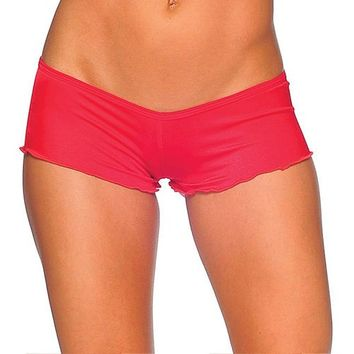 Scrunch Back Micro Shorts - Red
