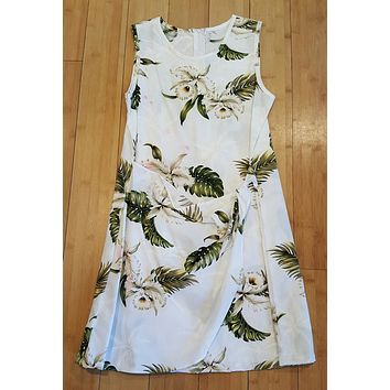 KY'S White Hibiscus Girls Tank Dress With Tie - STAINED