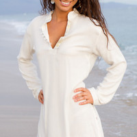 Sun Tunic - White Summer Tunics for Women, Swimsuit Coverup - Island Importer