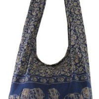 Navy Hippie Hobo Boho Vintage Elephant Sling Cotton Yam Buddha Crossbody Shoulder Messagenger Bag Purse Tote EA08