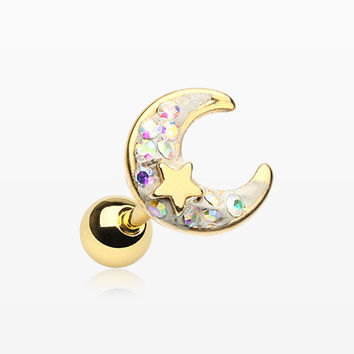 Golden Crescent Moon Star Sparkle Cartilage Tragus Barbell