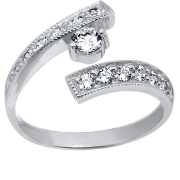 10k White Gold CZ Paved Solitaire Toe Ring