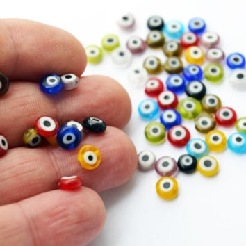 Turkish Evil Eye 6mm Flat Round Tiny Mixed Color Glass Beads Set of 50 Pieces Multicoloured Nazar Evil Eye Colourful Red Yellow Blue Purple