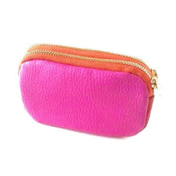 Pink small zipper pouch, small coin purse, small leather pouch, coin purse leather, coin pouch, credit card case, leather zipper pouch