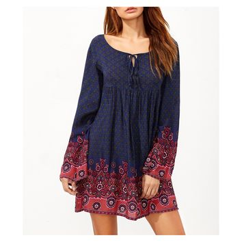 Navy Blue Red Floral Print Long Sleeve Boho Shift Dress