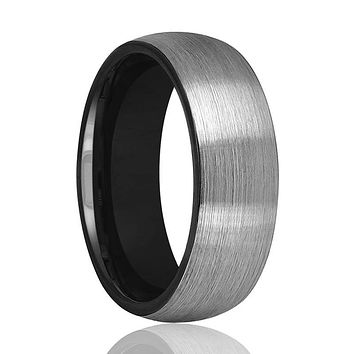 Tungsten Wedding Band - Men and Women - Comfort Fit - Black Round Domed - Brushed Tungsten Carbide Wedding Ring - 2mm - 6mm - 8mm