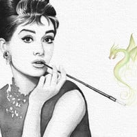 Audrey and Her Dragon Art Print by Olechka