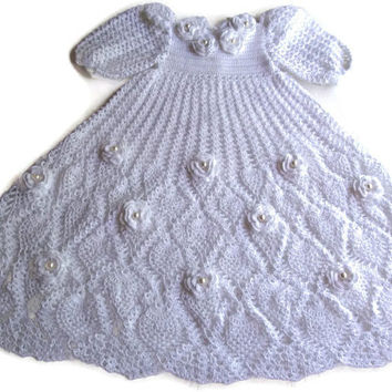 Crochet Baby Dress - Infant Christening Gown, White - Reborn Doll Clothes - White Dress for Baby