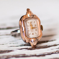 "Ring watch Soviet watch finger ring Russian watch - golden color ring watch - Women watch Mechanical watch ""- Vintage watch on new ring"