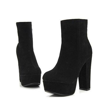 OASAP - Vintage Zipped Block Heel Ankle Boots - Street Fashion Store