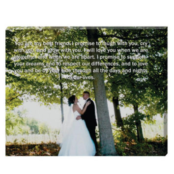SALE 16 x 20 Canvas Vows, Lyrics, Quote- Photo Canvas personalized with your wedding vows, favorite quote, or song lyrics