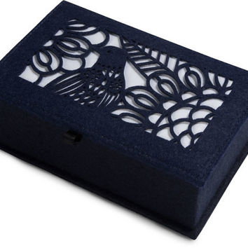 """Navy and Ivory - 7.75"""" x 5"""" x 2.75"""" Small Jewelry Box"""