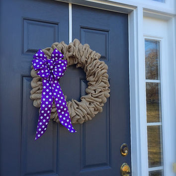 Burlap Door Wreaths Purple Polka Dots Cute Trendy Wreaths All Season Decor Year Round