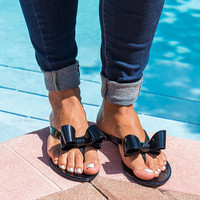 Italy Bow Jelly Sandals - Black
